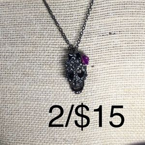 Jewelry - Black purple Day of the dead skull necklace